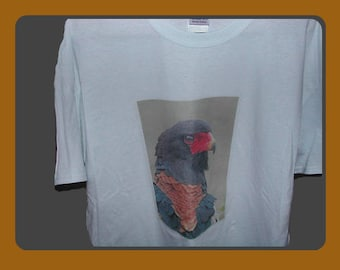 Exotic Bird T-Shirt, Graphic Tee, Adults White Gilden T-Shirt, Size XL