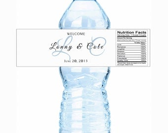 Wedding Water Bottle Labels, Monogram Water Bottle Labels, Bottled Water Labels, 30 Wedding Water Labels, Welcome Wedding Bags, Custom Color