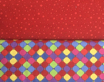 """Paintbrush Studio fabric """"Imagine This"""" has a tile print fabric (120-0601) and a polka dot in red fabric (120-0622)"""