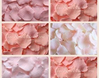 Hint of Peach Pink Rose Petals = 1,000 Silk Rose Petals