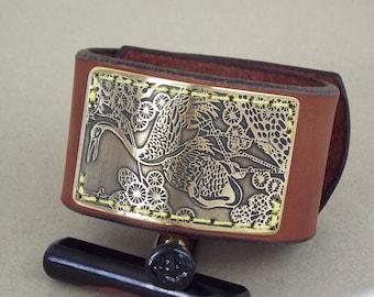 Leather Cuff Bracelet, Etched Brass Bracelet Leather Cuff, Men's bracelet, Womens bracelet, cuff bangles