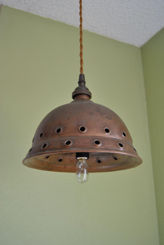 Primitive Kitchen Lighting Antique Copper Posser Pendant Light Vintage Washing Dolly
