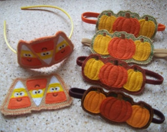Fall Headband Sliders Pumpkins and Candy Corn