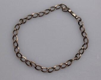 Simple Vintage Sterling Silver Charm Bracelet - 7.5 inch