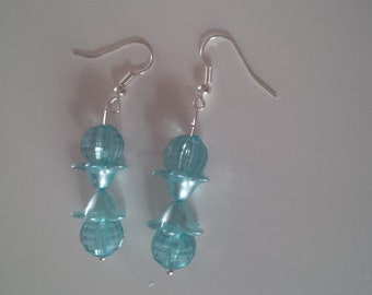 Turquoise Beaded Earrings   (#265)
