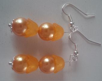 Orange Beaded Earrings   (#289)