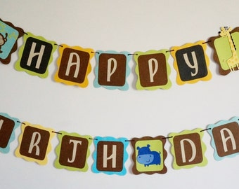 Safari themed Happy Birthday Banner .. birthday banner