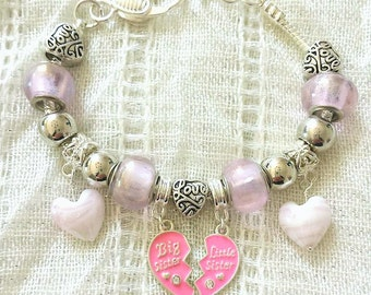 Big Sister Little Sister Heart Charm Pink Glass Lobster Clasp Silver Plated Bracelet 7-8 Inches