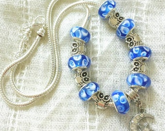 Moon Star Owl Charm Blue Glass Beads Silver Plated Necklace 20 Inches