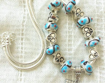 Music Charm Peace Heart Glass Beads Silver Plated Necklace 20 Inches