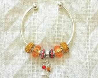 Wine Glass Charm Rhinestone Beads Silver Plated Bangle Bracelet 7.5 Inches