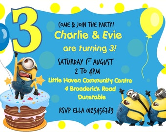 Printed Personalised Minions Birthday Party Invitations X10