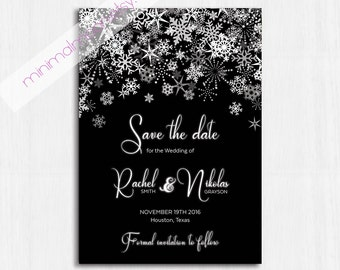 Winter Save the date, Black, Printable Wedding invitation, Winter save the date, Snow wedding, winter party, winter invitation, snowflakes