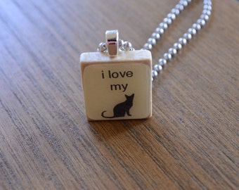 I love my Cat - Scrabble tile pendant with or without ball chain