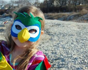 Handmade felt parrot mask, child