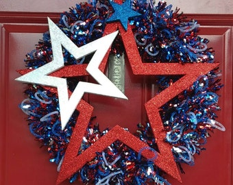 Patriotic Wreath-Star Door Wreath-Red Wreath-Red White Blue Wreath-Americana Mesh Wreath-Stars & Stripes Wreath-Star Door Wreath