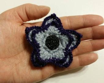 Purple Trimmed Crochet Flower