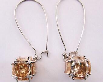 Long Drop Earrings,Mothers Gift,Silver Tone Kidney Earwire,November Birthstone-Citrine,Dangle Earrings,Wedding Jewelry,Mothers Earrings.