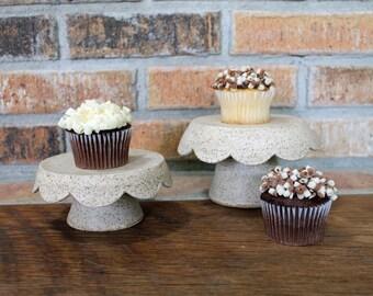 Stoneware Pottery: Single Ceramic Cupcake Stand in White