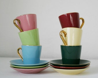 "French Tea Cups Set. Vintage Home Decor Tea Set ""Reception"" Ceramic"
