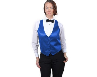 Women's Royal Blue Satin Fashion Dress Vest