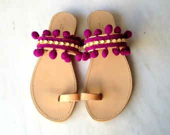 Pon pon and rhinestones sandals - Boho sandals - Bohemian pon pon sandals - Greek sandals - Womens sandals - Summer shoes - Pom pom sandals