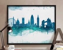 London, Art Print, Watercolor, London watercolor, Art, City poster, Wall art, British, England, Home Decor, Skyline, Blueish, iPrintPoster.