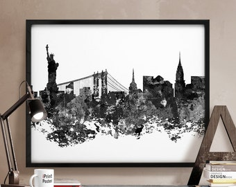 New York city, skyline, New York print, NYC, black & white, Wall art, Home Decor, Travel poster, City Print, Abstract, Distress iPrintPoster