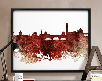 Florence print, Florence, Italy, Florence skyline, poster, wall art, home decor, city prints, travel poster, distressed poster, iPrintPoster