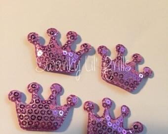 Lavender Crown Padded Appliqués, Scrapbooking Supplies, Sequin Appliqués