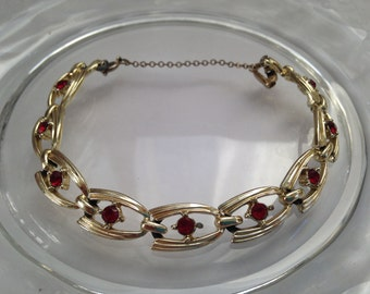Vintage Coro Gold tone Bracelet with Ruby July Birthstone Safety Chain