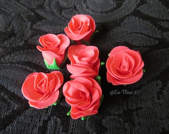 Six Mini Handmade Gumpaste Flowers- Roses