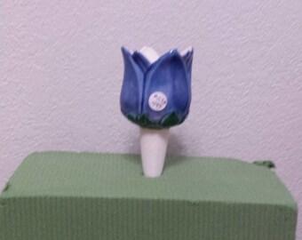 Ceramic Tulip Flower Planttender - Tulip glazed blue (#59A)