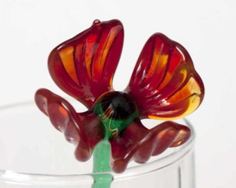 Glass Flower Red Poppy Hand Blown Figurine