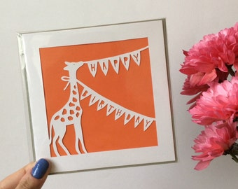 Giraffe Happy Birthday Papercut Card