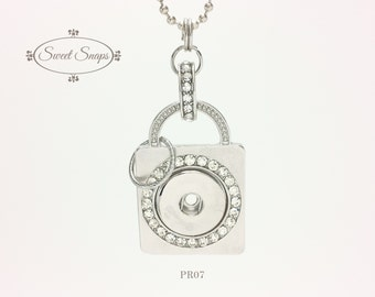 Silver-toned pendant for interchangeable snap jewelry (PR07)