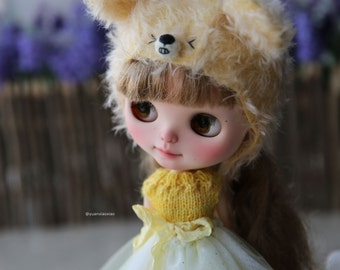 Yuan's neo Blythe Princess dress with ribbon /licca /cloth/doll /dress/outfit/Handmade /Kniting