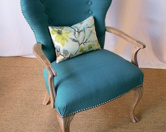 SOLD Refinished Vintage accent Chair Covered in a Beautiful Teal Fabric