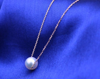 Fresh Water Pearl 18k Rose Gold Necklace Pendant Chain Wedding Birthday Valentine's Mother's Day