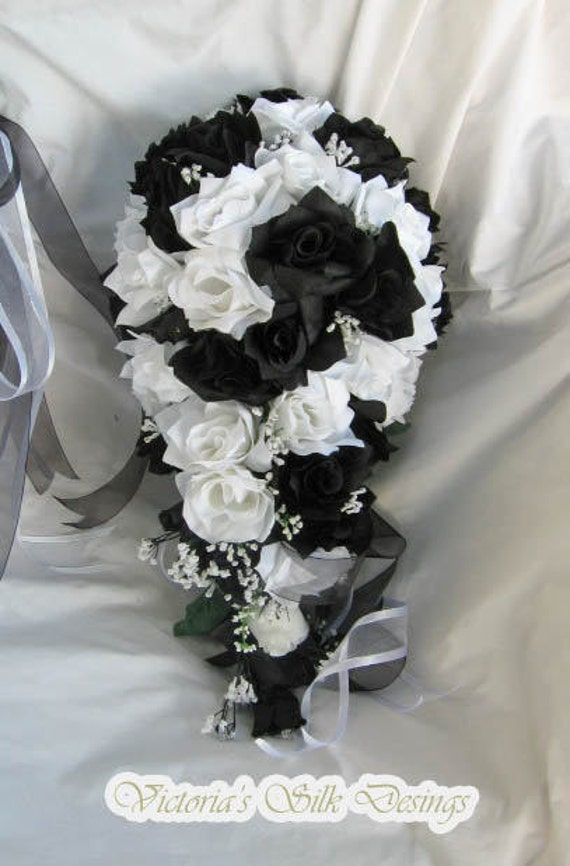Silk Cascading  black and white bridal bouquet  set 2 pieces  1 FREE toss