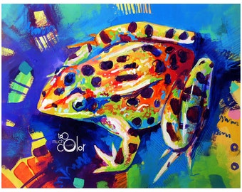 "Frog 2 - Original colorful traditional painting paper acrylic 8.5""x11"""