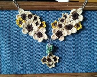 Crocheted Sun Flower necklace