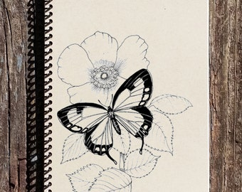 Butterfly Notebook - Butterfly Journal - Butterfly on a Flower - Gift for Butterfly Lover - Mothers Day Gift
