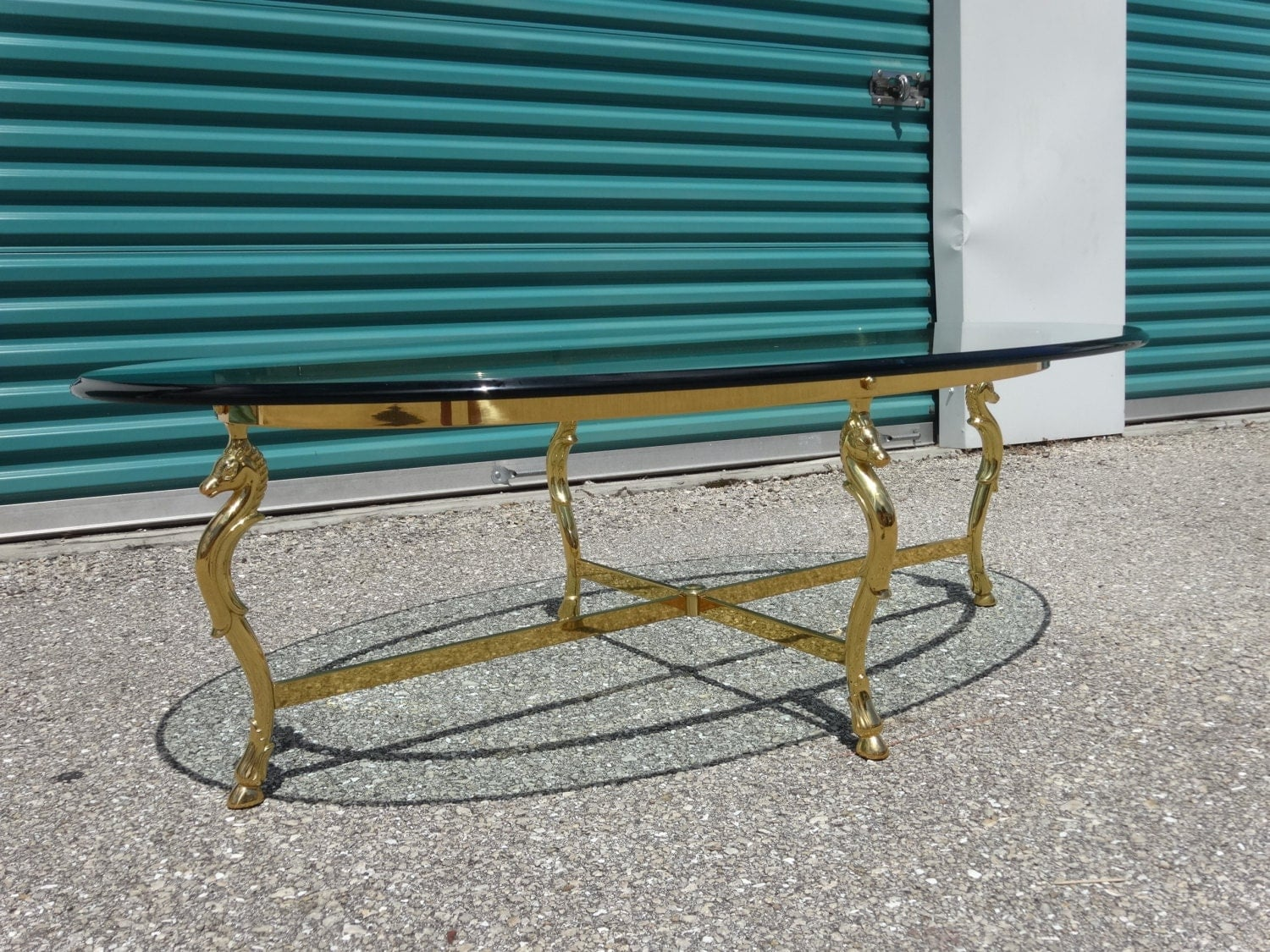 Stunning Mid Century Hollywood Regency Italian Solid Brass Seahorse - Seahorse coffee table
