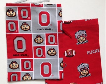 2 OHIO STATE University / Buckeyes Gift Bags ~ 100% Cotton Fabric, with Ribbon Drawstring ~ OSU