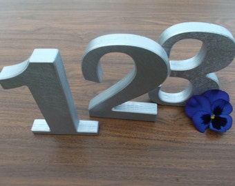 """1-20 5"""" Silver Wooden table numbers, Table numbers, Wedding table decoration, Wedding reception decor, Anniversary, Free standing numbers"""