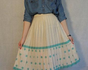 Vintage Pleated Skirt/ Polka Dot Skirt