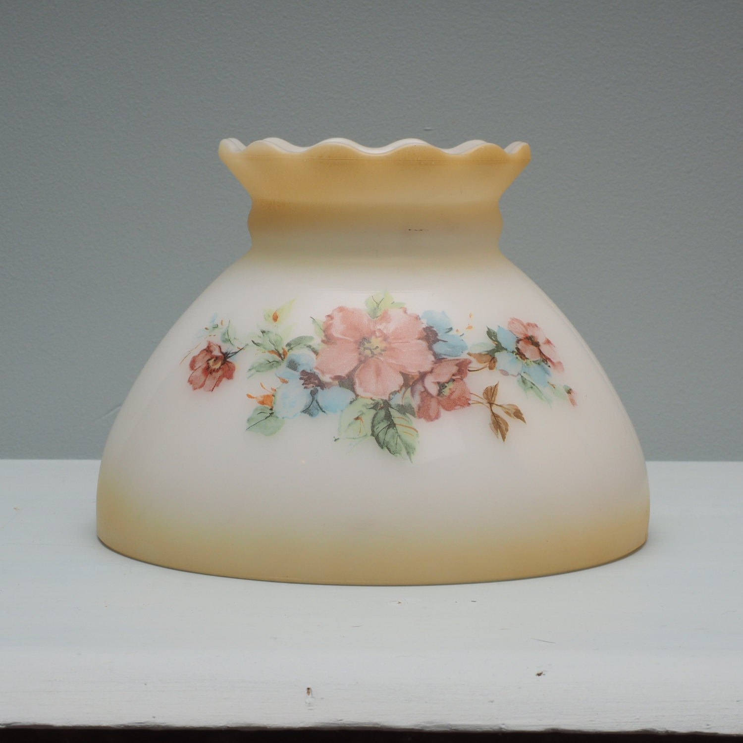 Vintage Milk Glass Lamp Shade Pink And Blue Flowers Green