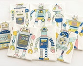 "Big Robots Fabric Cartoon Linen Cotton Fabric Quiltting  Curtain Fabric for Kids Children - One Panel 41""x57"" h21"