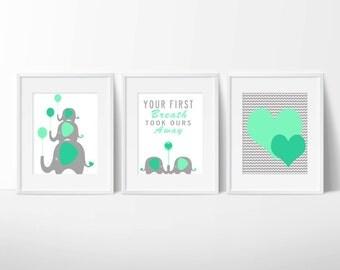 Mint Green/Grey Elephant Heart Nursery Wall Art